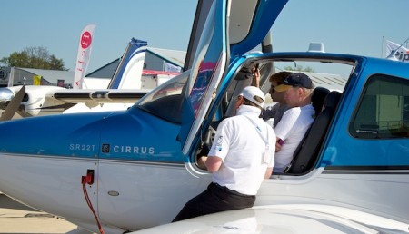 Cirrus aircraft on display
